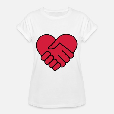 Heart Hands Hand in hand heart red - Women's Oversize T-Shirt