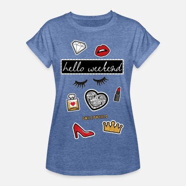 Smiley World Hello Weekend Fake Patches - Women's Oversize T-Shirt