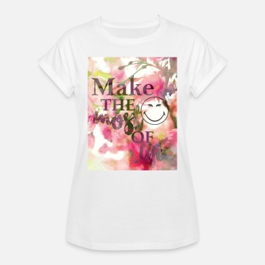 Floral Smiley World The Most Of Life Belle Vie - T-shirt oversize Femme