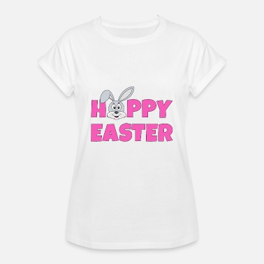 Easter Bunny Hoppy Easter pink with bunny rabbit gray - Women's Oversize T-Shirt
