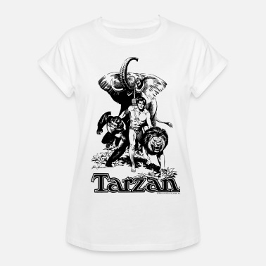 Tarzan Elephant Apes Lion Fight - Naisten oversized-t-paita