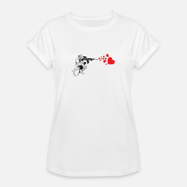 Banksy Military Rifle Shooting Out Hearts - Women's Oversize T-Shirt
