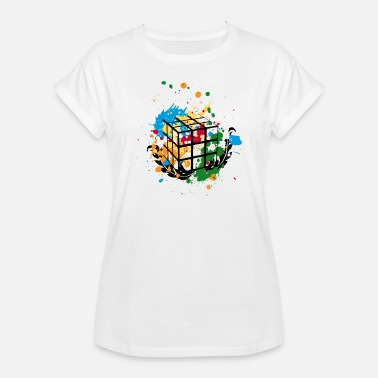 Cube Rubik's Cube Colourful Splatters - Women's Oversize T-Shirt