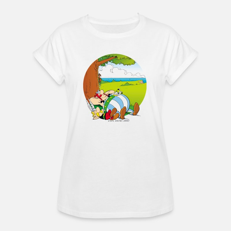 Adventure T-Shirts - Asterix & Obelix Dogmatix Relaxing - Women's Loose Fit T-Shirt white