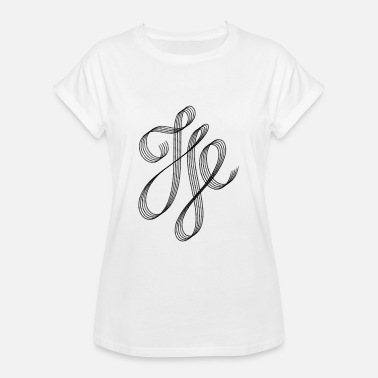 Calligraphic Calligraphy Curved Calligraphic Swash - Women's Oversize T-Shirt