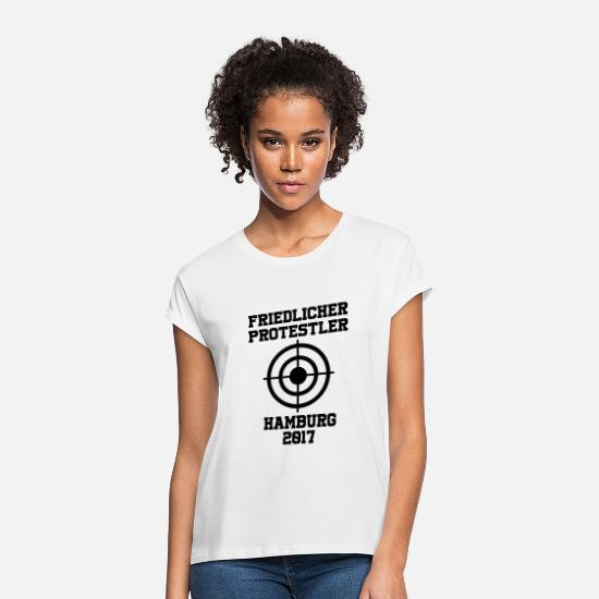 Protests T-Shirts - Peaceful Protestant Hamburg 2017 - Women's Loose Fit T-Shirt white