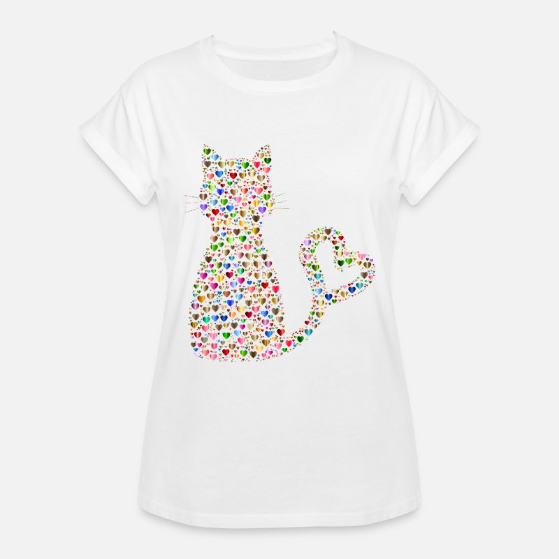 Cat T-Shirts - Cat Lover Design - Women's Loose Fit T-Shirt white