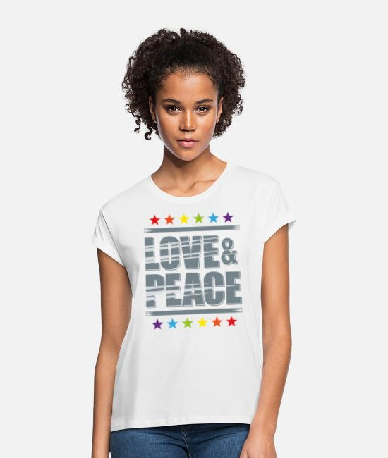 Love T-Shirts - LOVE AND PEACE - Women's Loose Fit T-Shirt white