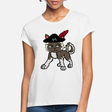 Buccaneer Funny cat pirate buccaneer with mouse - Women's Loose Fit T-Shirt