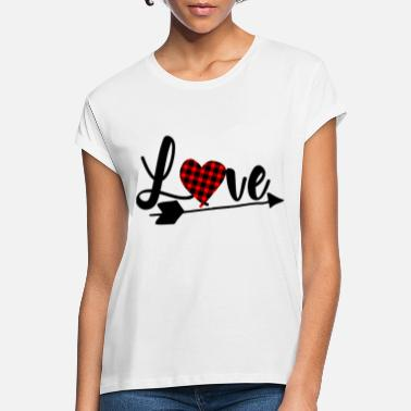 Love Valentine's Day Heart with Fabric Pattern Gift - Camiseta holgada mujer