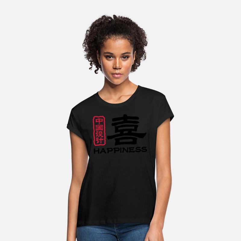 Kinesiske ord: glede Oversize T skjorte for kvinner