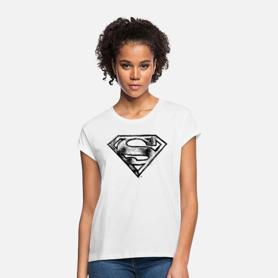 Superman T-Shirts - DC Comics Superman Logo Gezeichnet - Frauen Oversize T-Shirt Weiß