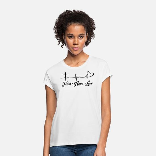 Christ T-Shirts - Cross Faith Hope Love Christianity Christ Child - Women's Loose Fit T-Shirt white