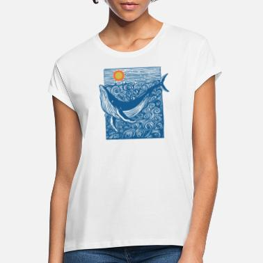 Planetcontest Ozean Wal Doodle - Frauen Oversize T-Shirt