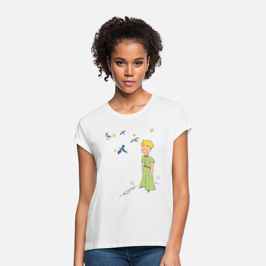 Drawing T-Shirts - The Little Prince Travels With Birds - Women's Loose Fit T-Shirt white