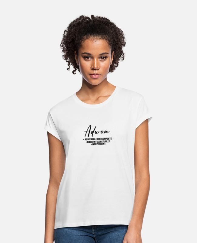 Gold T-Shirts - Call me by my name ! ADWOA Ghana - Monday. - Women's Loose Fit T-Shirt white