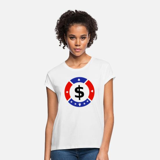 Dollars T-shirts - Poker Chip - T-shirt oversize Femme blanc