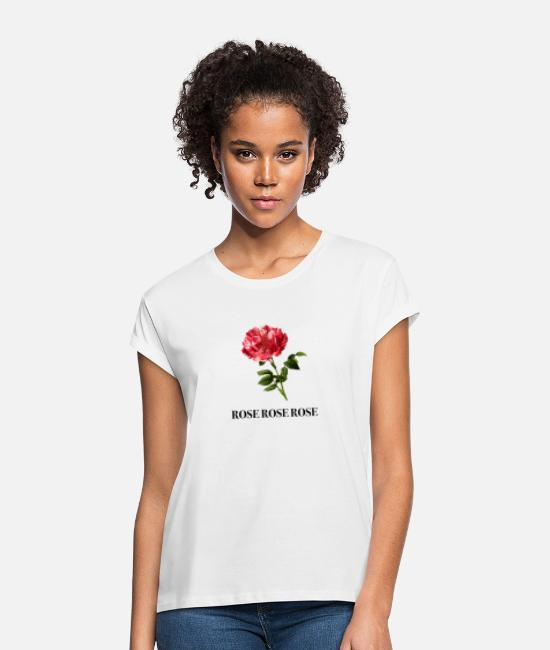 Heart T-Shirts - Rose Print Gift Idea - Women's Loose Fit T-Shirt white
