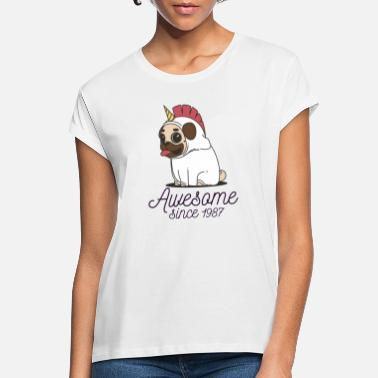 Awesome Since 1987 Awesome since 1987 | Funny Unicorn Pug - Women's Loose Fit T-Shirt