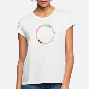Floral Rustic spring wreath customizable - Women's Loose Fit T-Shirt