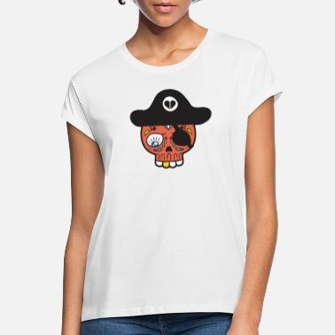 Sugar Skull Totenkopf Piraten Hut Sugar Skull Mexikanisch - Frauen Oversize T-Shirt