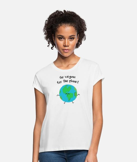 "Nature T-Shirts - Vegan for the planet - ""Vegan for the planet"" - Women's Loose Fit T-Shirt white"