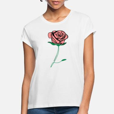 ❤️✦°Romantic Pink Rose-Timeless Rose Line Art - Women's Loose Fit T-Shirt