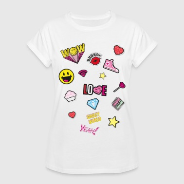 Smiley World Colourful Funny Patches - Vrouwen oversize T-shirt
