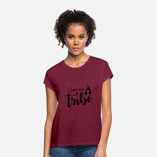 Familiar Camisetas - Amo a mi tribu - Reunión familiar - Camiseta holgada mujer rojo bordeaux