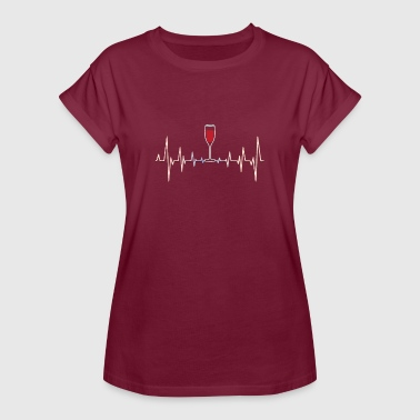 Alcohol Joke Beautiful heartbeat wine alcohol heart joke gift - Women's Oversize T-Shirt