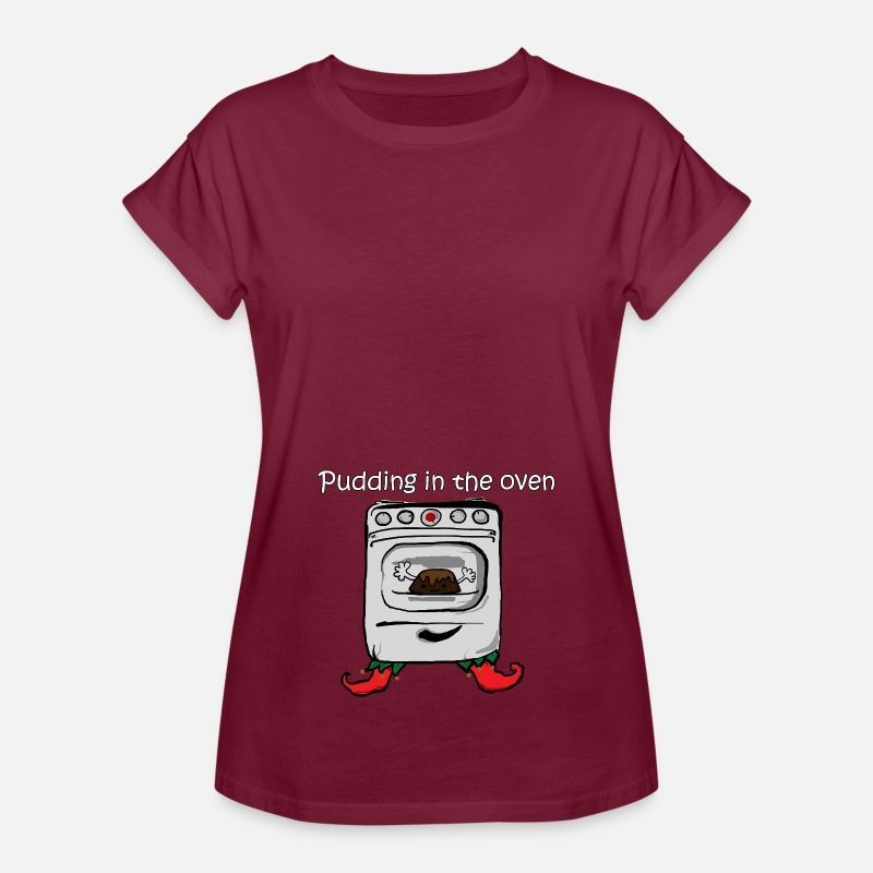 Pregnancy T-Shirts - Maternity Bun In The Oven Funny Pregnant T shirts  - Women's Loose Fit T-Shirt bordeaux