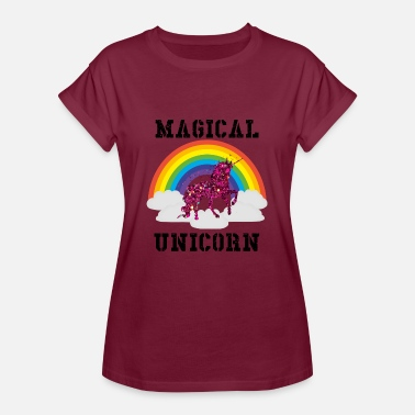 Unicorn Lovers rotes glitzer Einhorn - red Unicorn - Frauen Oversize T-Shirt