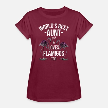 Aunt Aunt Quotes> World's Best Aunt & Loves Flamingos - Women's Oversize T-Shirt
