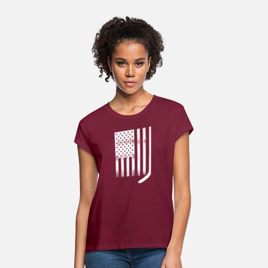 College T-Shirts - USA Flag White Hockey Stick - Women's Loose Fit T-Shirt bordeaux