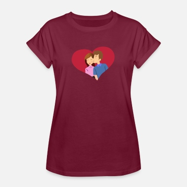 Couple Kiss Love heart couple Couple kiss - Women's Oversize T-Shirt