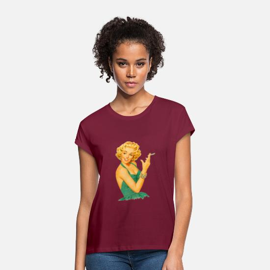 Cigarette T-Shirts - Smoking woman gift idea - Women's Loose Fit T-Shirt bordeaux