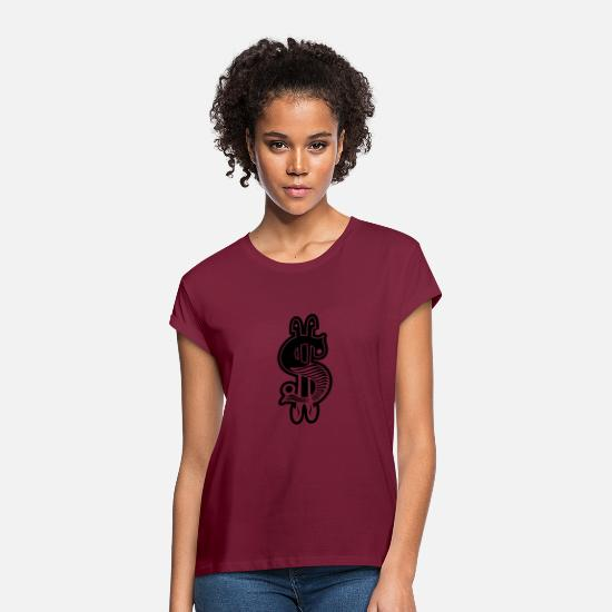 White T-Shirts - dollar sign - Women's Loose Fit T-Shirt bordeaux