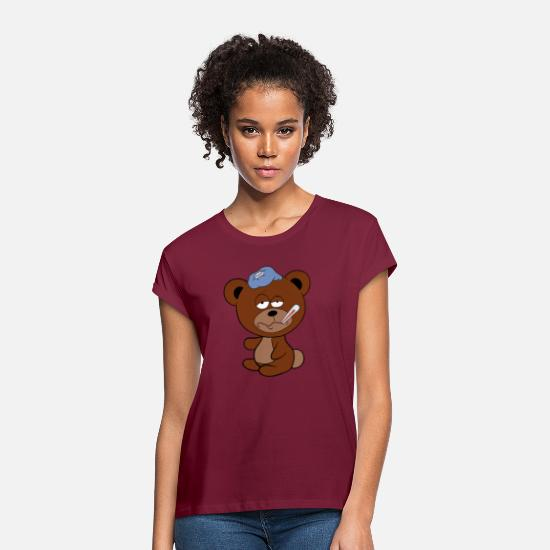Influenza T-Shirts - Sick bear flu influenza - Women's Loose Fit T-Shirt bordeaux