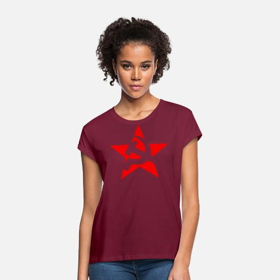 Hammer T-Shirts - Soviet hammer and sickle, hammer and sickle - Women's Loose Fit T-Shirt bordeaux