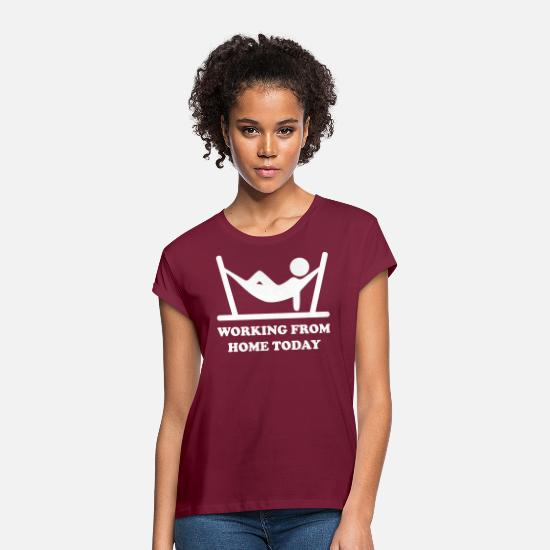 Work T-Shirts - Home Office - Women's Loose Fit T-Shirt bordeaux