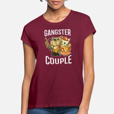 Gangster Couple mafia gangster chien - T-shirt oversize Femme
