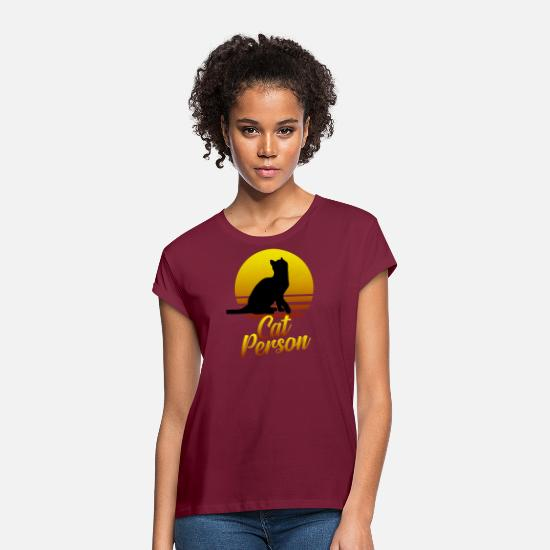 Meme T-Shirts - Cat person - Women's Loose Fit T-Shirt bordeaux
