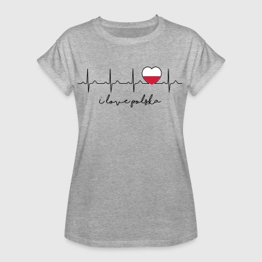 I Poland love Polska - heartbeat - Polish - Women's Oversize T-Shirt