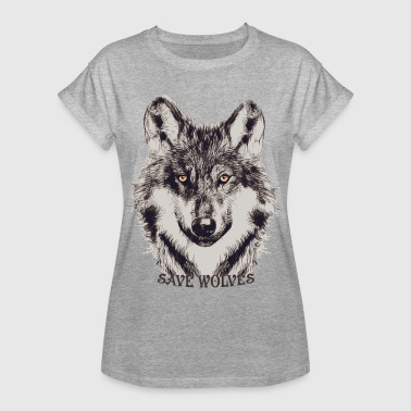 SAVE WOLVES - Frauen Oversize T-Shirt