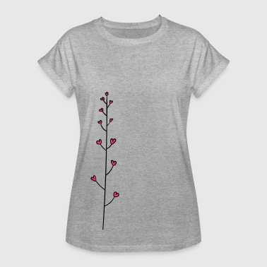 Tendril with hearts - flower heart - Women's Oversize T-Shirt