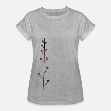 Cirrus Tendril with hearts - flower heart - Women's Oversize T-Shirt