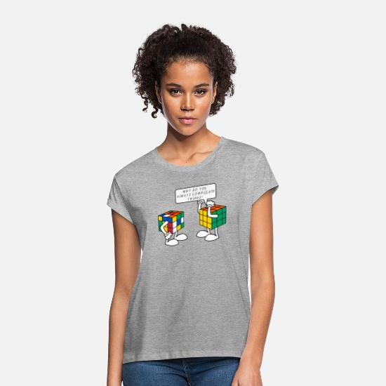 Humour T-Shirts - Rubik's Cube Humour Complicate Things - Women's Loose Fit T-Shirt heather grey