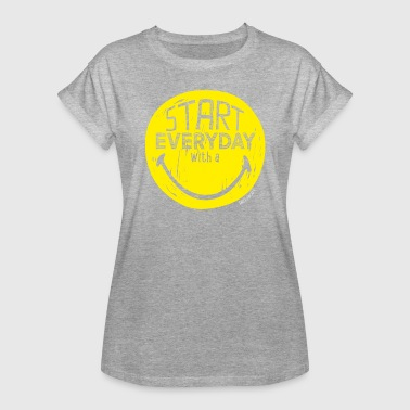 Start SmileyWorld Start Everyday With A Smile - Frauen Oversize T-Shirt
