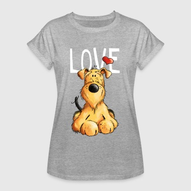 Airedale I love my Airedale Terrier - Gift - Dog - Cartoon - Women's Oversize T-Shirt