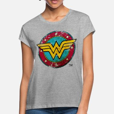 Wonder Woman Logo Distressed Frauen T-Shirt - Frauen Oversize T-Shirt
